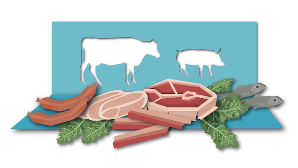 Illustration visar köttprodukter och djur utskurna ur papper. Illustration: Susanne Lindeborg/Sveriges Radio.