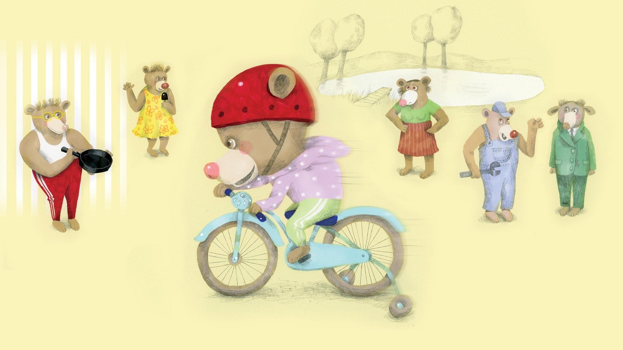 Nalle cyklar snabbt på sin cykel. Illustration: Lotta Geffenblad