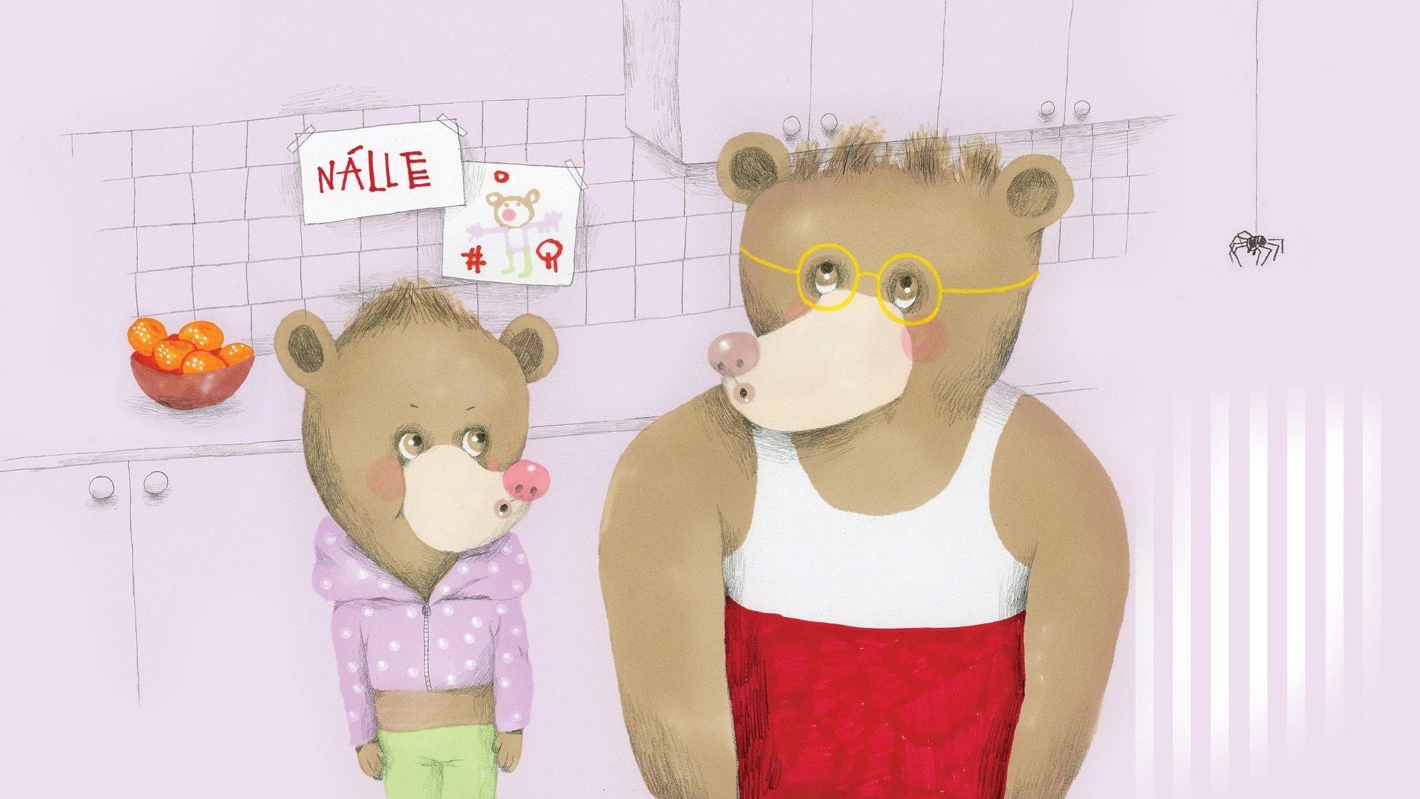 Nalle och pappa visslar. Illustration: Lotta Geffenblad