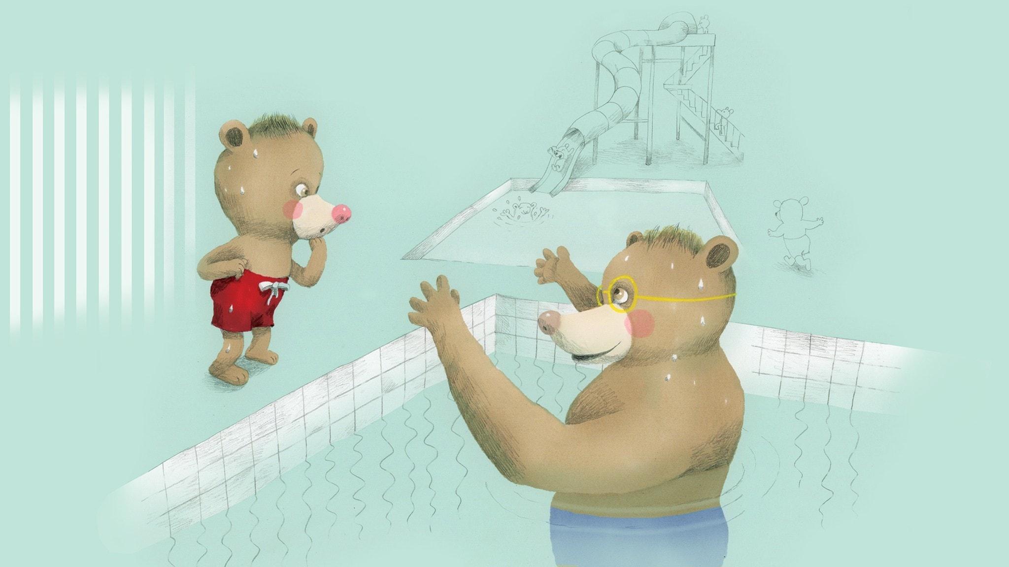 Nalle och pappa är i simhallen, Nalle står på kanten till bassängen och pappa är i vattnet. Illustration: Lotta Geffenblad