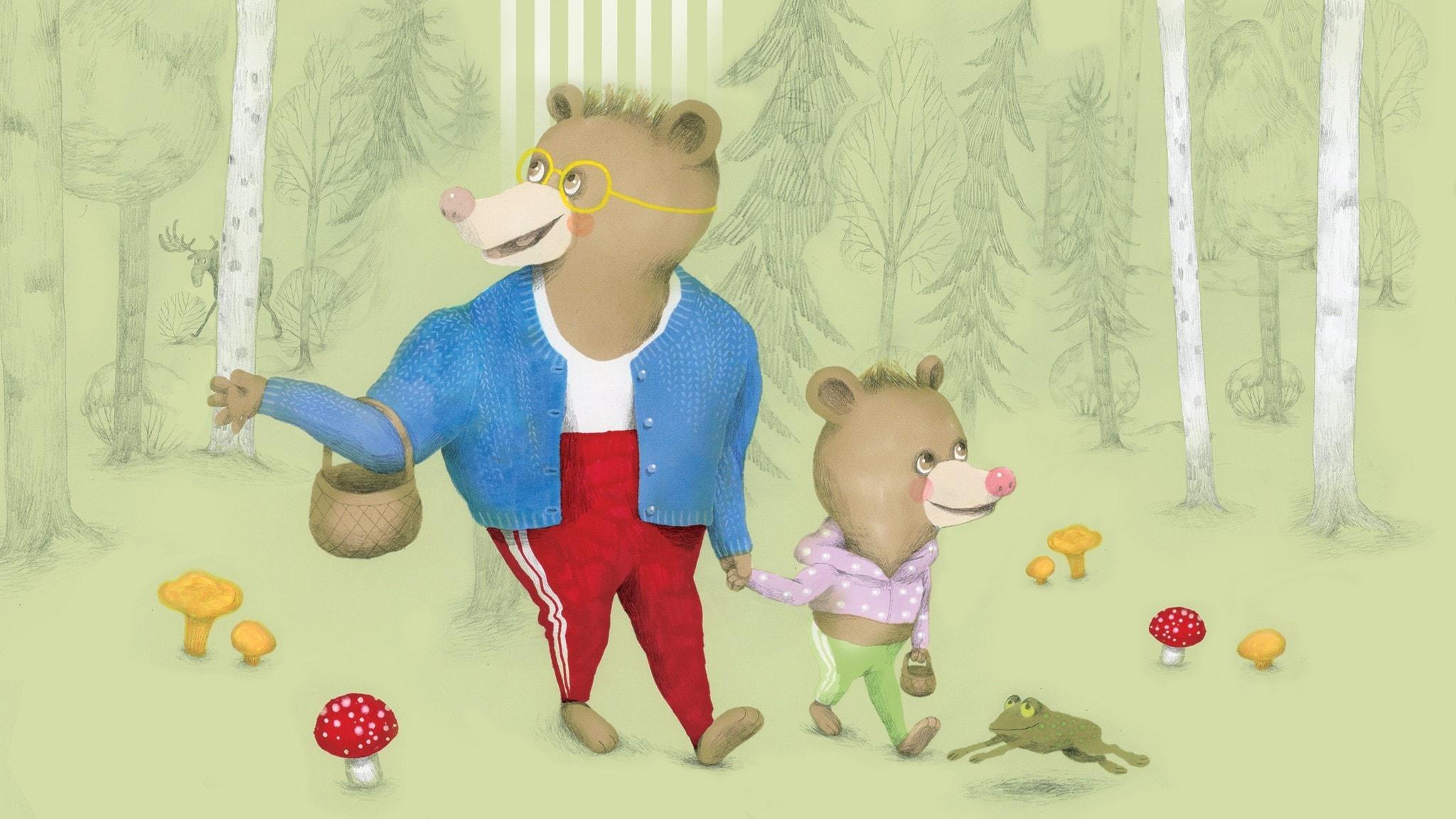 Nalle och pappa går i skogen för att plocka svamp. Illustration: Lotta Geffenblad