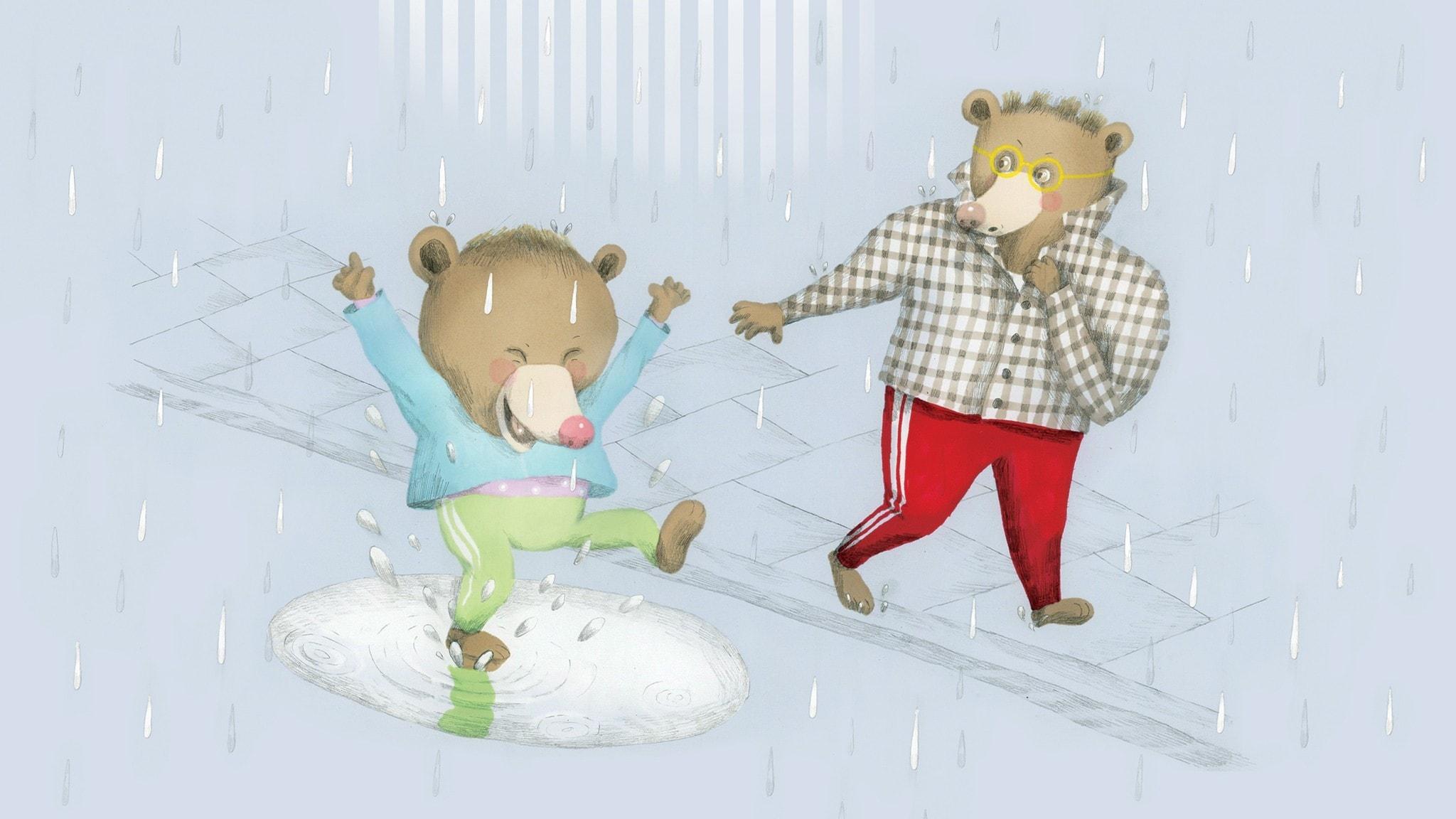Det regnar och Nalle plaskar i en pöl, pappar går på trottoaren bredvid och försöker att inte bli blöt. Illustration: Lotta Geffenblad