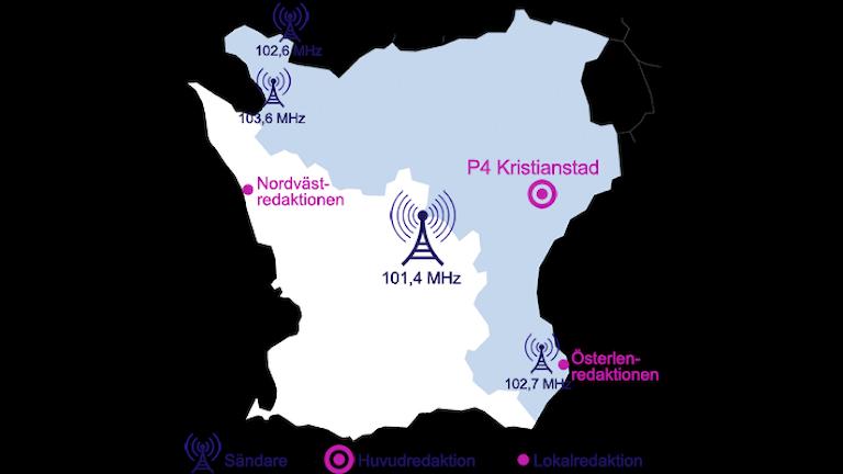 Sändningskarta med frekvenser för P4 Kristianstad.