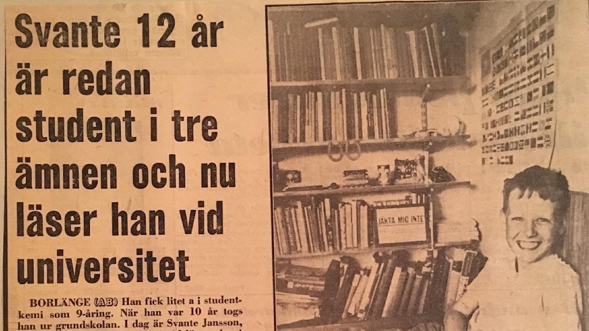 Svante Janson i tidningen som 12-åring.