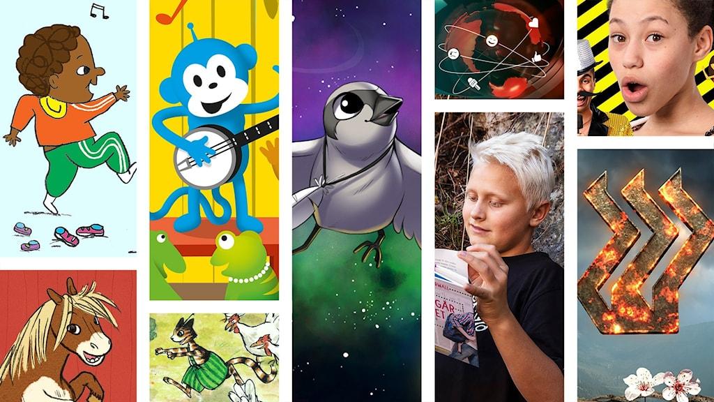 Ett collage med blandade bilder från Barnradions olika produktioner - Bland annat Bebispodden, Radioapan, Ponnyn Pytte, Fake, Juniornyheterna, Rymdfåglar, Barnradions bokpris och Bröderna Lejonhjärta.