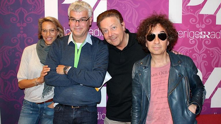 Emma Wiklund, Mårten Castenfors och Anders Eldeman hos Uggla i P4. Foto: Ronnie Ritterland / Sveriges Radio
