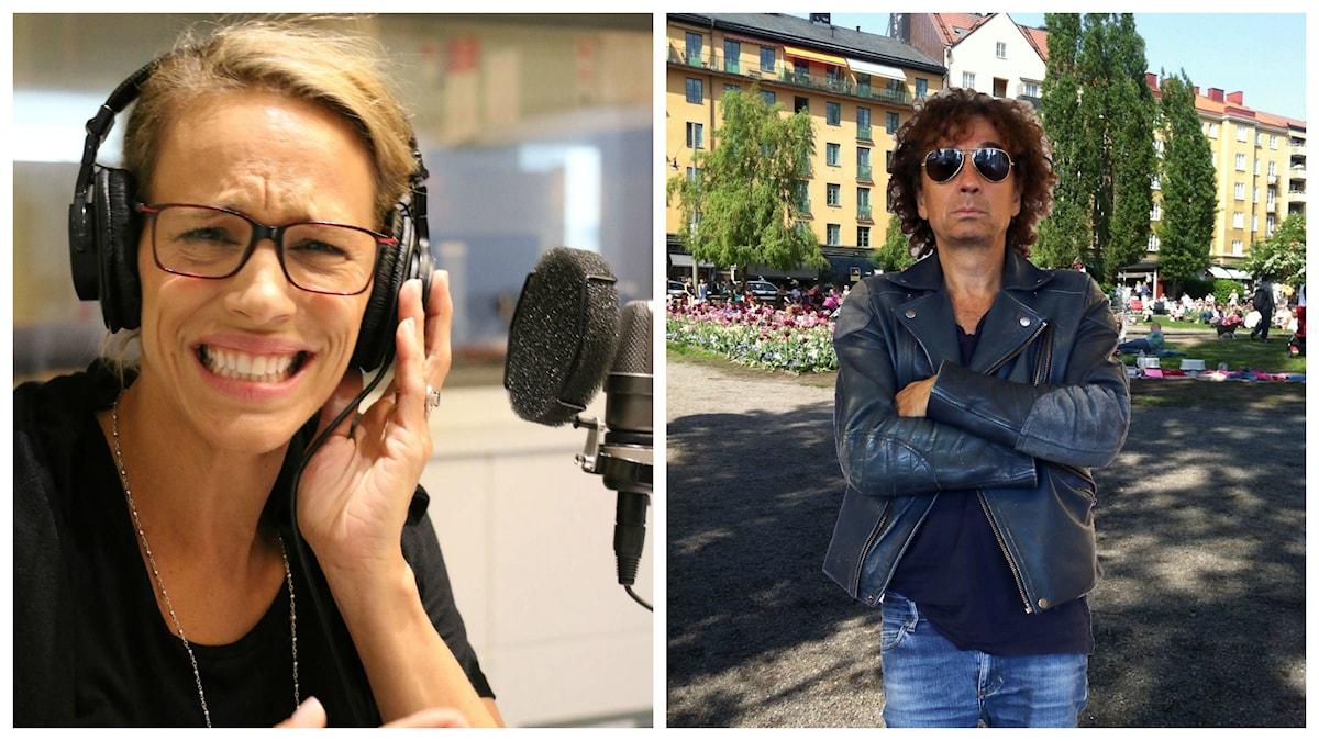 Så här ser Emma Wiklund ut när Magnus Uggla droppar BOMBEN att han vill flytta till stadsdelen Södermalm som de båda avskyr. Foto: Ronnie Ritterland / Sveriges Radio