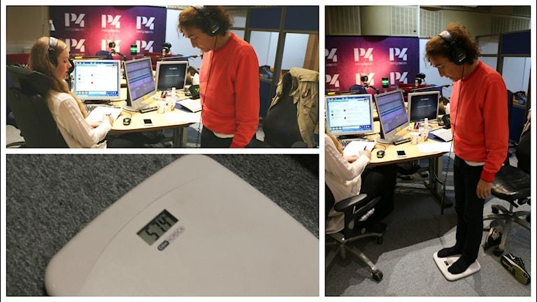Dags för Magnus Uggla att vägas in. Sara Kinberg peppar på när vår Uggla på vågen ska stå. Foto: Ronnie Ritterland / Sveriges Radio