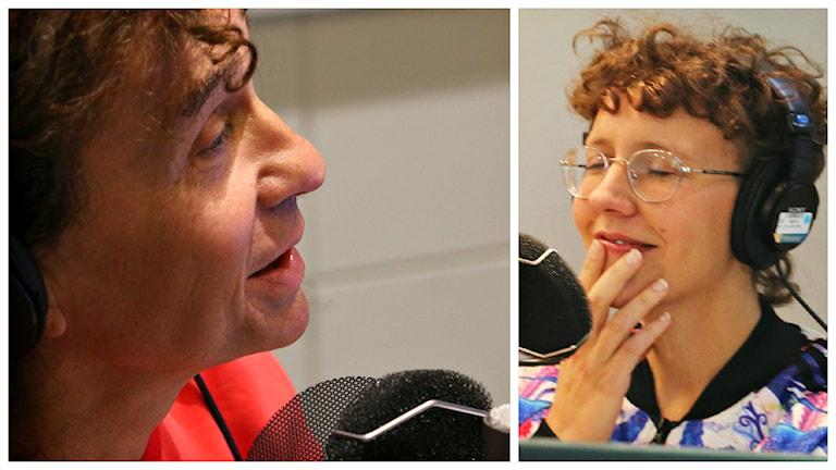 """""""Jag sitter mest hemma och är tyst"""", berättar Julia för Magnus Uggla som fullkomligt H Ä P N A R över svaret, varpå han frågar om det verkligen är värt det ... Foto: Ronnie Ritterland / Sveriges Radio"""