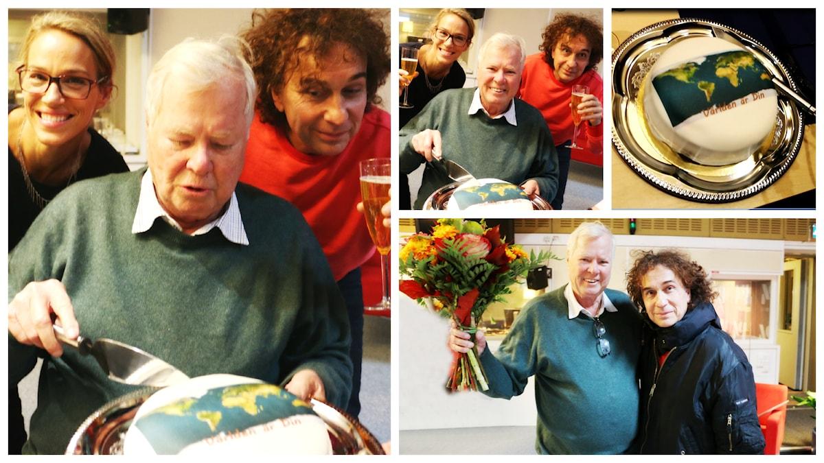 Grattis!!!!!!!!!!!!!!!!!!!!! Här överraskar Magnus Uggla och Emma Wiklund Staffan Hemierson på dagen innan 80-årsdagen! Foto: Ronnie Ritterland / Sveriges Radio