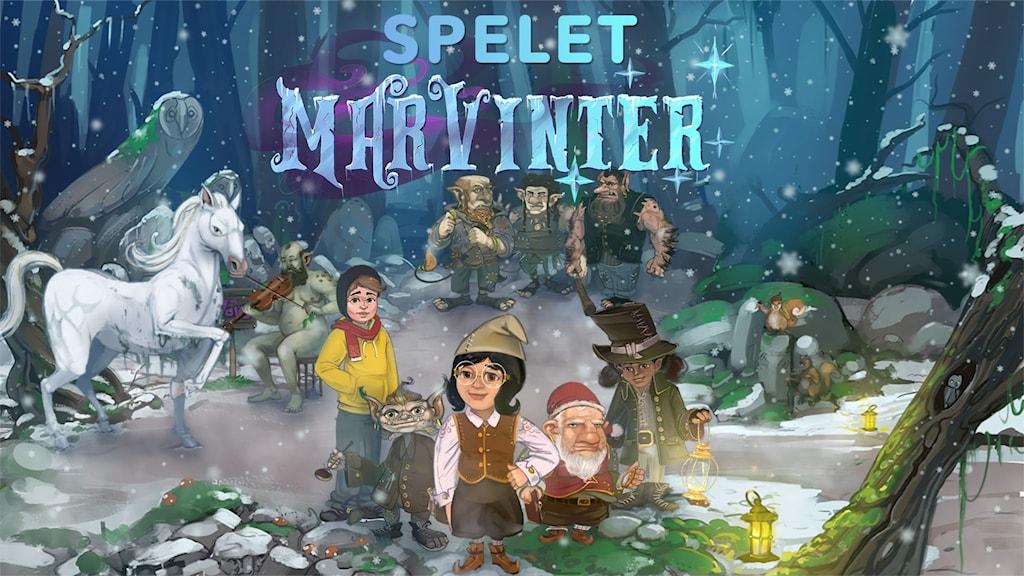 Många av karaktärerna från Marvinter står samlade i en skogsdunge.