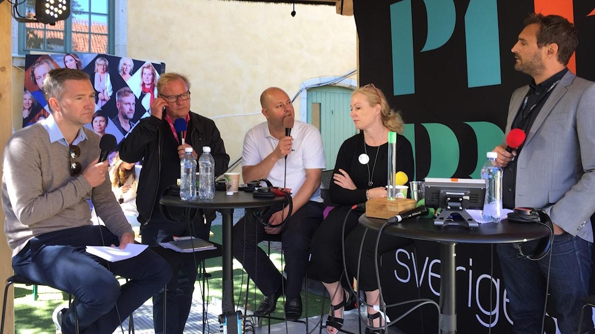 Olle Zachrison, Robert Olsson, Thomas Mattsson, Jeanette Gustafsdotter och Johar Bendjelloul (moderator)