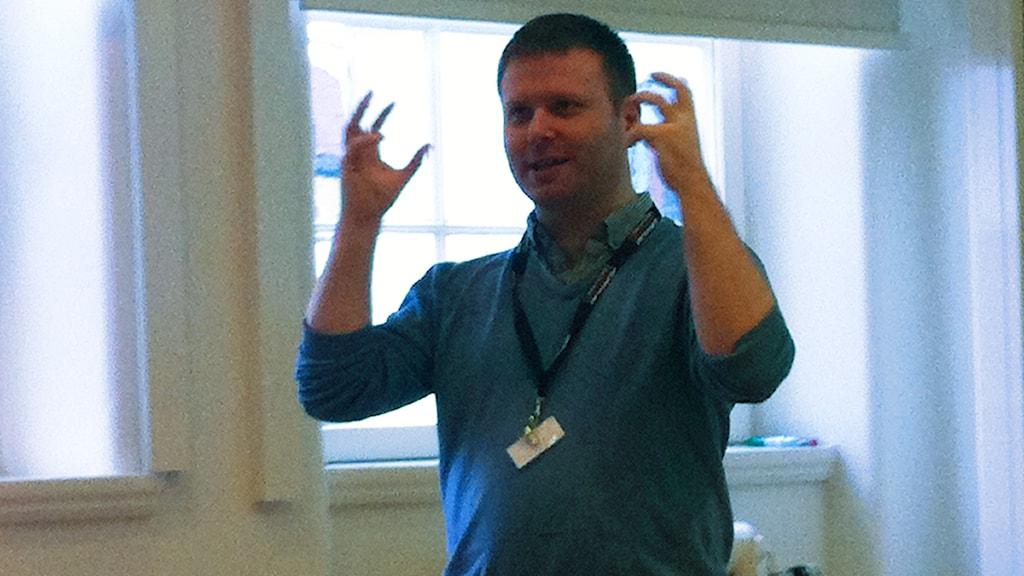 Gavin Sheridan, Storyful, föreläste på den journalistiska knytkonferensen Fajkon i Göteborg. FOTO: Cecilia Djurberg/SR