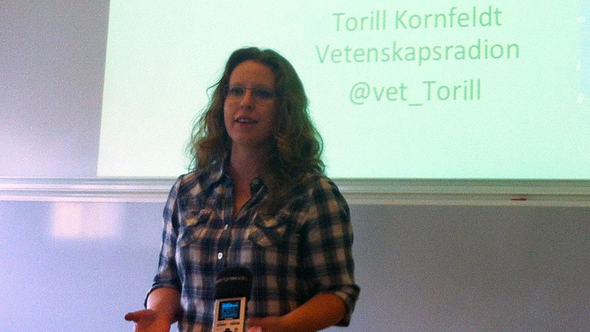 Torill Kornfeldt, journalist på Vetenskapsradion. FOTO: Cecilia Djurberg/SR