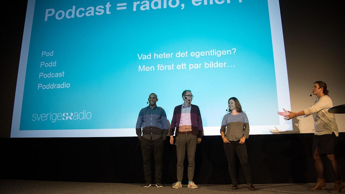 Mohamed El Abed, Kristoffer Kringlan Svensson, Katrin Zytomierska och Elin Claeson pratar podcasts på Radiodagen. FOTO: Micke Grönberg/SR