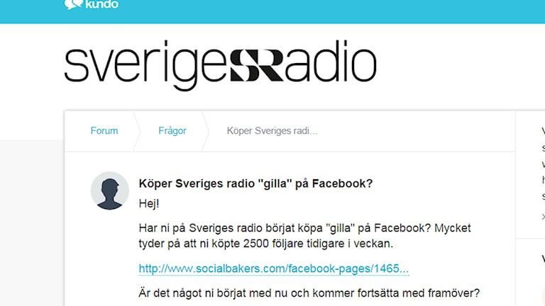 Skärmdump med fråga från Sveriges Radios supportforum Kundo