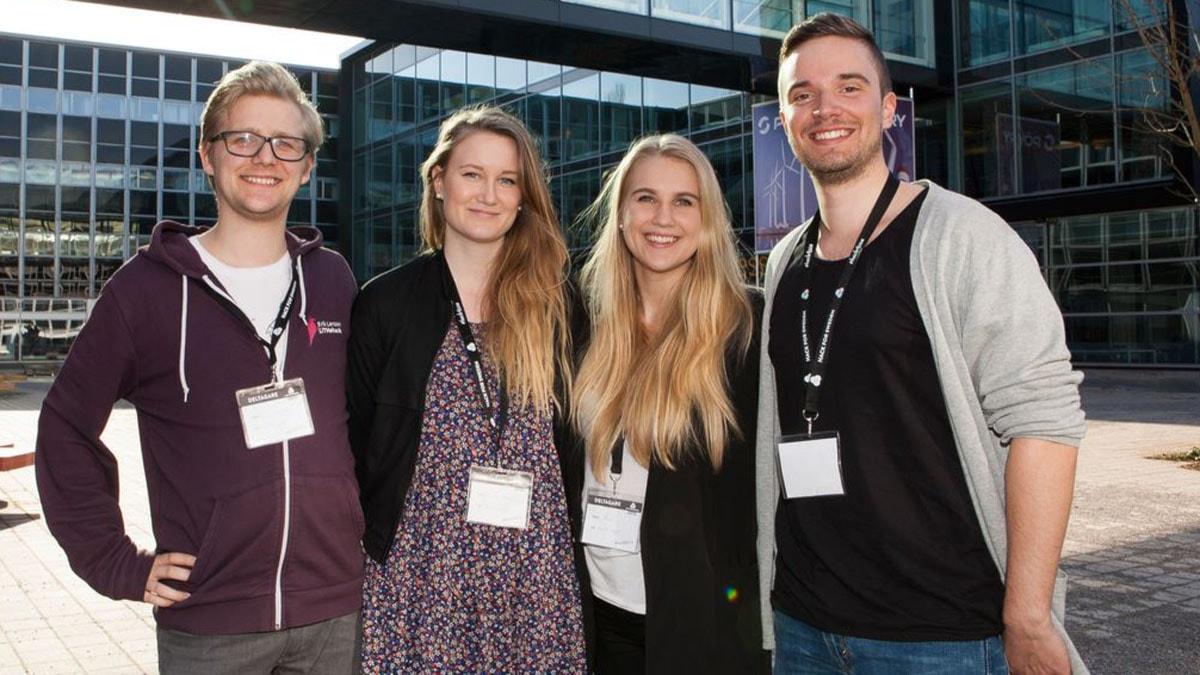 Erik Sandrén, Emma Melander, Olivia Kassander och Johan Holmlund tog hem segern i Hack for Sweden 2015. FOTO: Jenny Svennås-Gillner, SLU