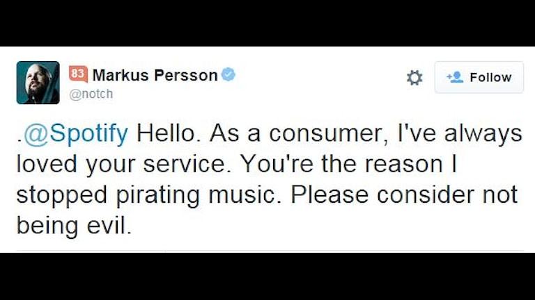 """Skärmdump: Notch twittrar till Spotify: """"Please consider not being evil"""""""