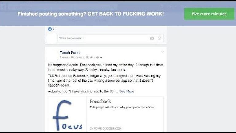 Skärmdump: Yonah Forst har byggt en app för att begränsa sitt Facebookanvändande