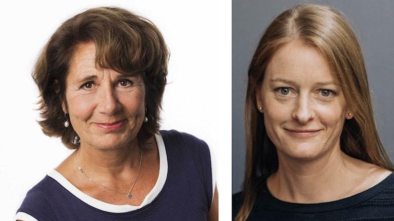 """Alice Petrén (tv) och Hannah Storm (th) pratar om rapporten """"The Emotional Toll on Journalists Covering the Refugee Crisis""""på Mediedagarna i Göteborg."""