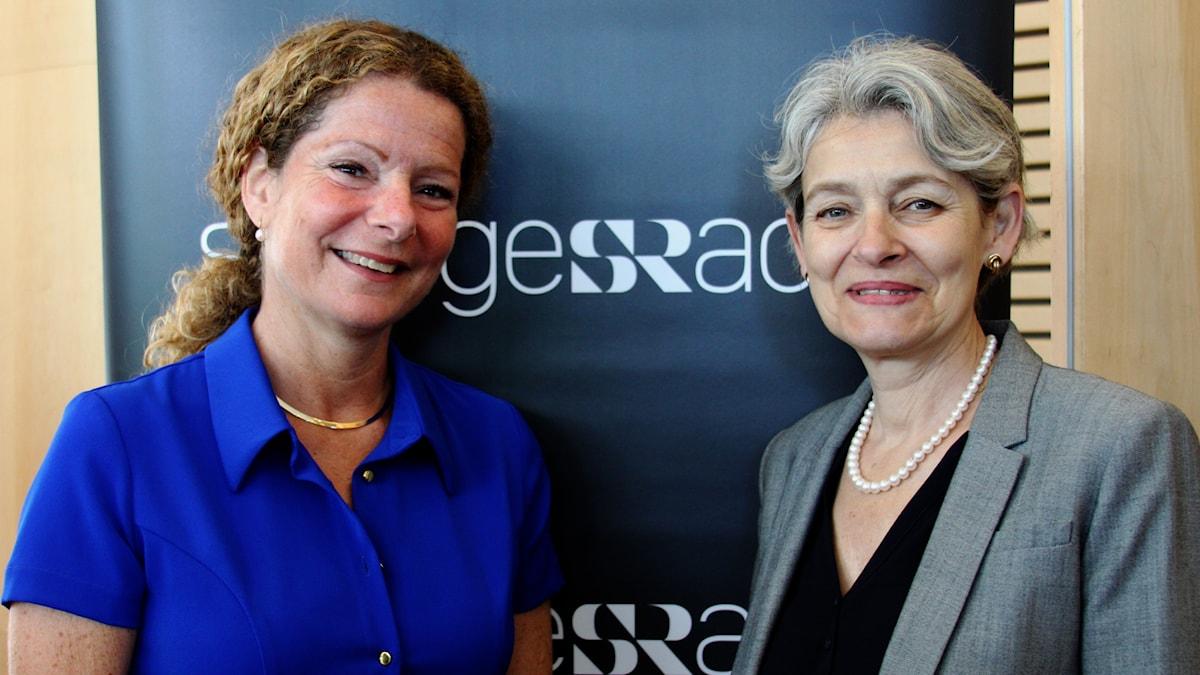 Cilla Benkö, vd Sveriges Radio och Irina Bokova, generaldirektör Unesco