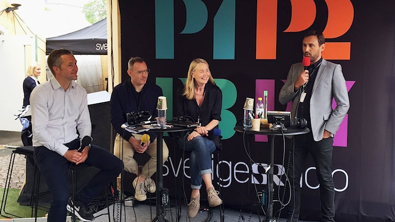 Olle Zachrison, Craig Silverman, Louise Welander och Johar Bendjelloul (moderator)