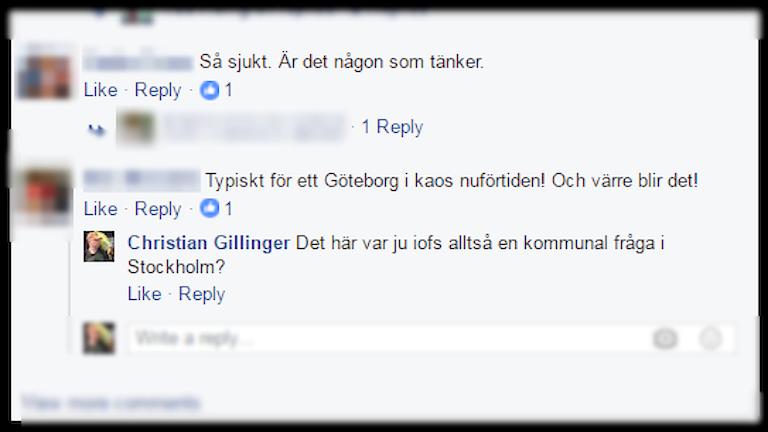 Skärmdump: Misslyckad kommunikation på Facebook