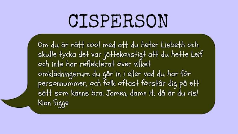 Cisperson Foto: Nina Kruse/Sveriges Radio