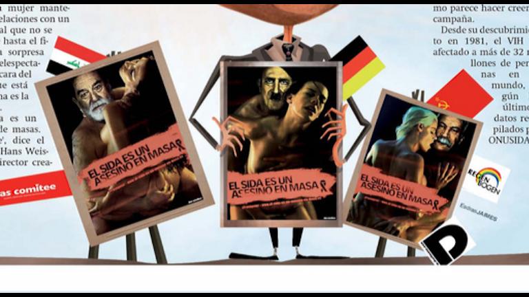Kampanjen som jämförde hivpositiva med Hitler uppmärksammades världen över. Foto: Faksimil Panama America, Aldea Global, s.29, 090909
