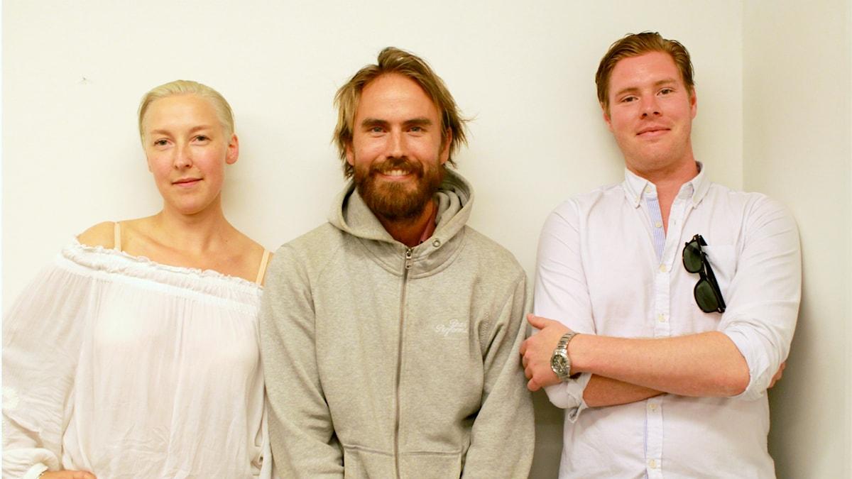 Panelen bestående av Emmi, Fredrik och André. Foto. Amal Aziz/SR