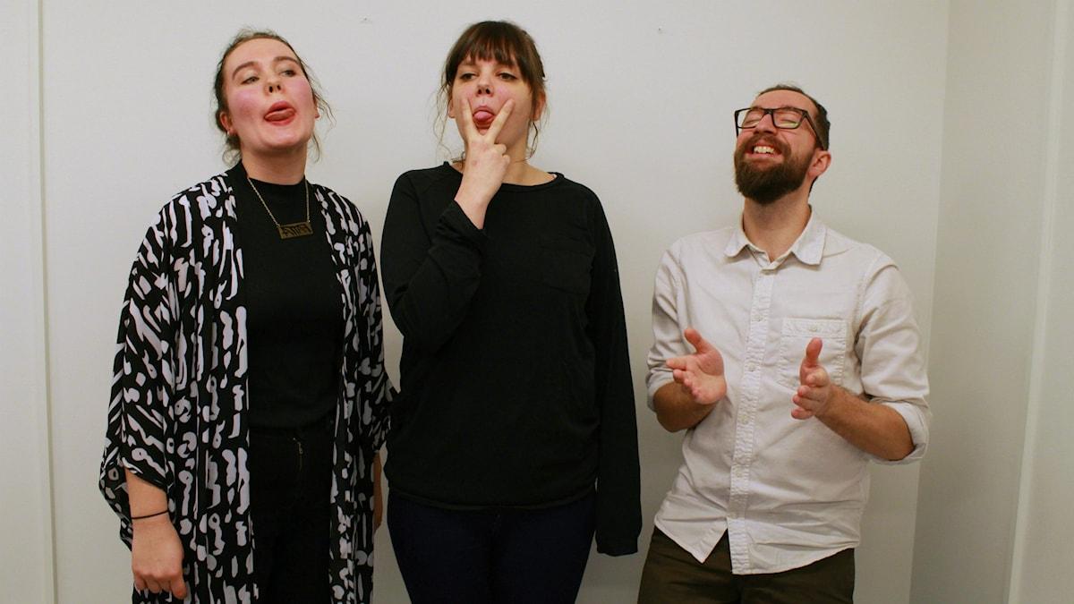 """Alice Hörnestig, Amanda """"Vilska"""" Lindgren & Marcel Roman. Foto: Lina Asp/Sveriges Radio"""