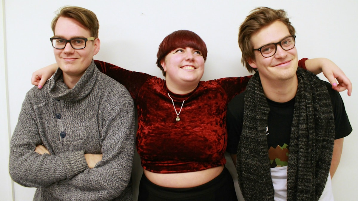 Nils Holmström, Emma Augustsson och Niklas Runsten. Foto: Lina Asp/Sveriges Radio