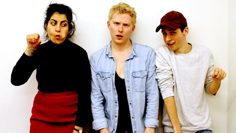 Izabella, Anton och Jacob. Foto: Lina Asp/Sveriges Radio