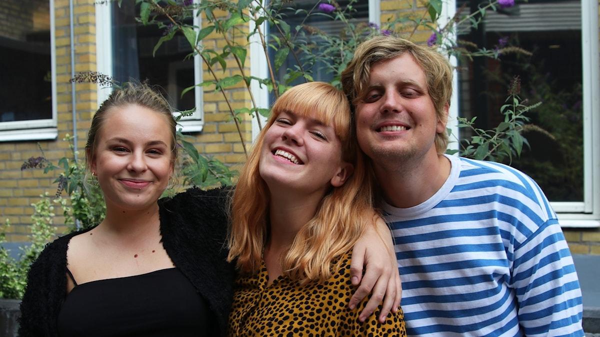 En bild på Clara, Axel och programledar-Filippa