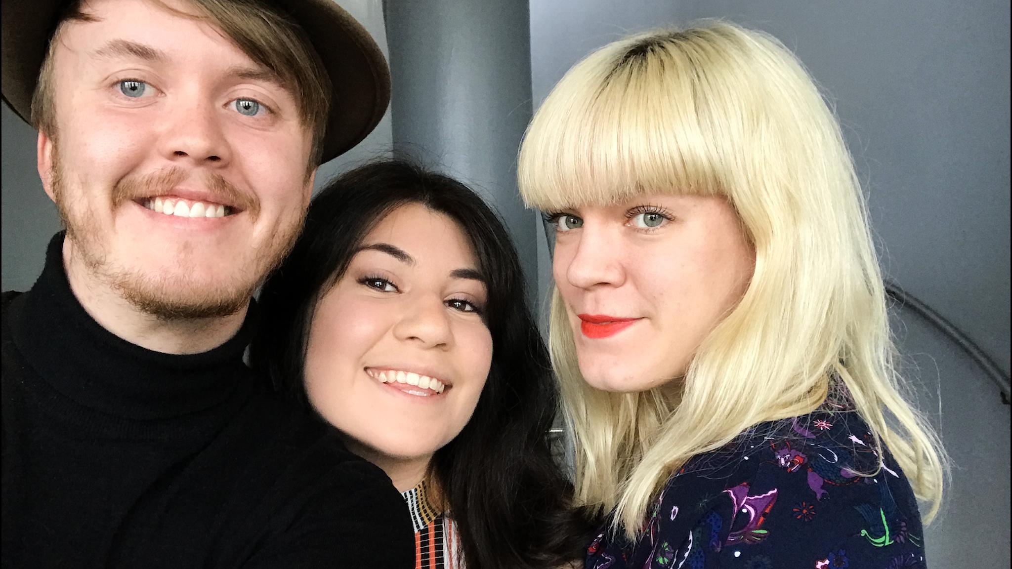En selfie med panelen som består av Erik, Andrea och Filippa.