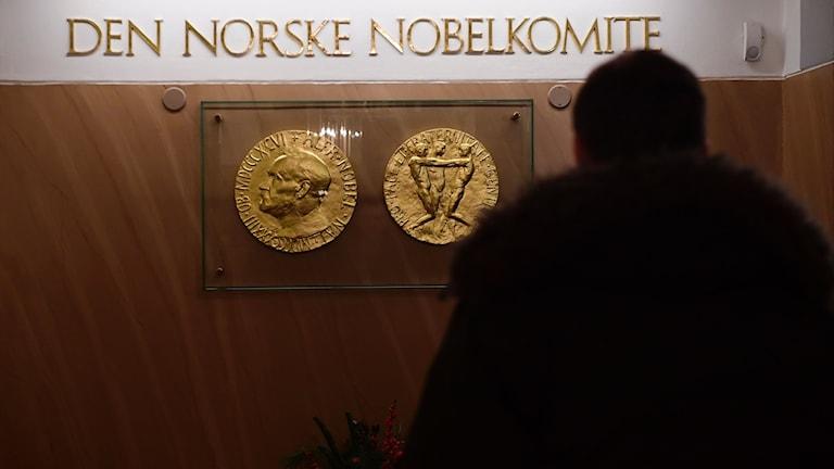 "Guldfärgad text: ""Den norske nobelkomite""."