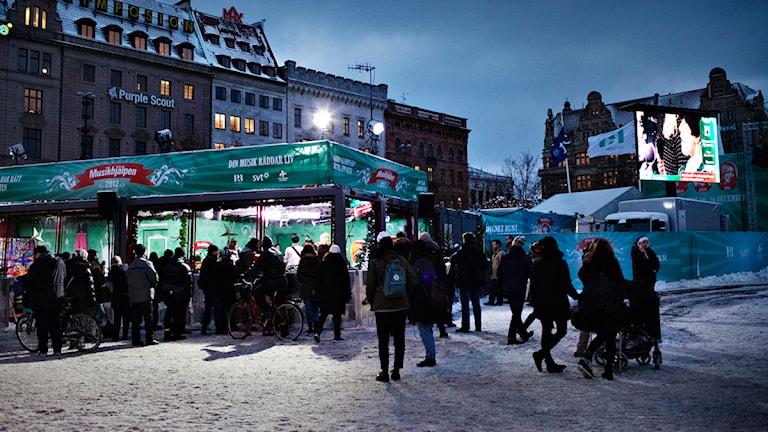 Publik utanför buren. Foto: Julia Lindemalm/Sveriges Radio.