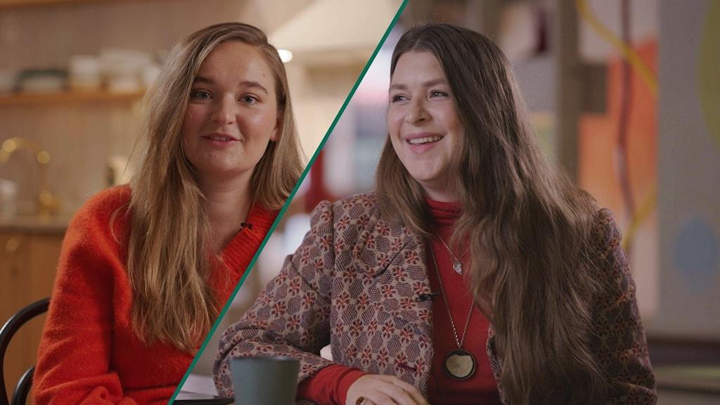 Ena halvan av bilden visa Hanna, och den andra Visar Linnea. Det är nytagna bilder, från en intervjusituation.De har båda på sig röda tröjor och ser glada ut.