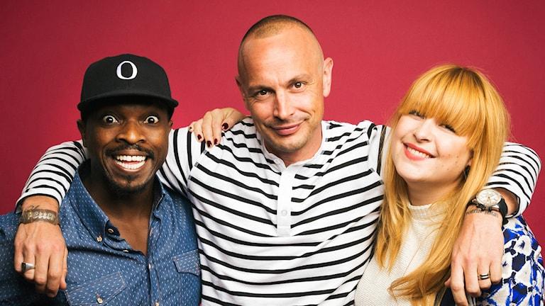 Petter, Linnea och Kodjo leder #mh14. Foto: Mattias Ahlm/Sveriges Radio.