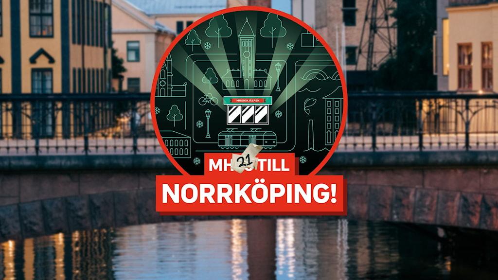 "En grafisk bild över Norrköpings torg, med en glasbur i mitten. I den står det ""Mh21 till Norrköping!"" Bakgrunden visar Norrköping."