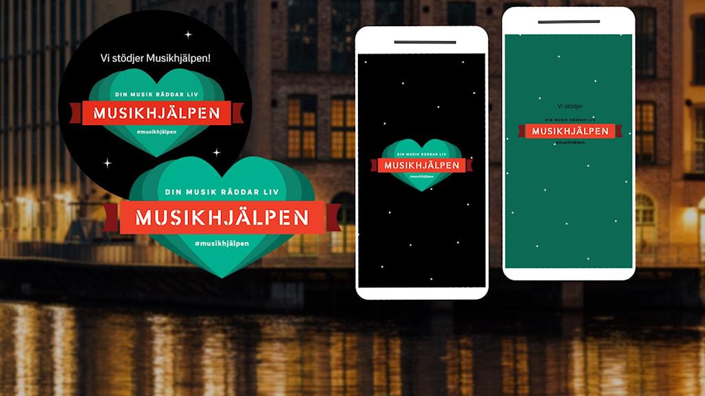Ett bildkollage av Musikhjälpens olika logotyper och infografik.