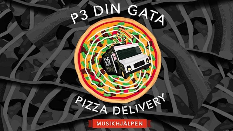 I grafiken syns en pizza och texten: P3 DIN GATA PIZZA DELIVERY