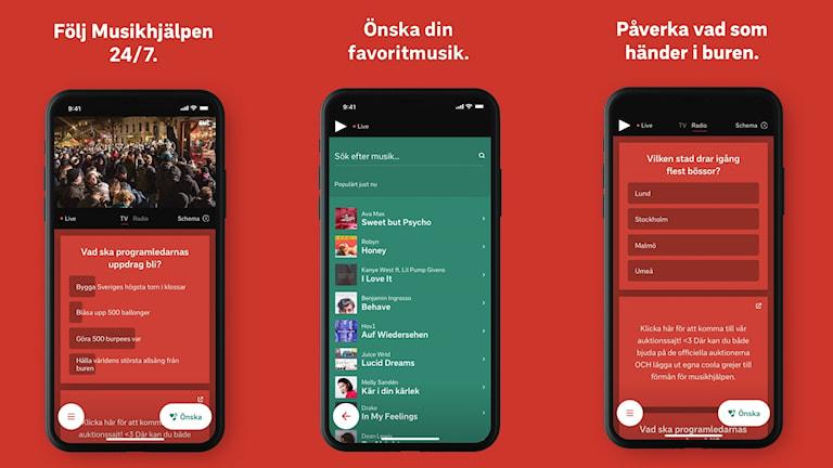 Grafik som föreställer olika funktioner i Musikhjälpens app 2018. Den är utformad som tre iphones på klarröd bakgrund: I den längst till vänster visas exempel på hur sändningen ser ut i appen, i mitten hur du önskar låtar och mobilen längst till höger visar hur en poll ser ut.