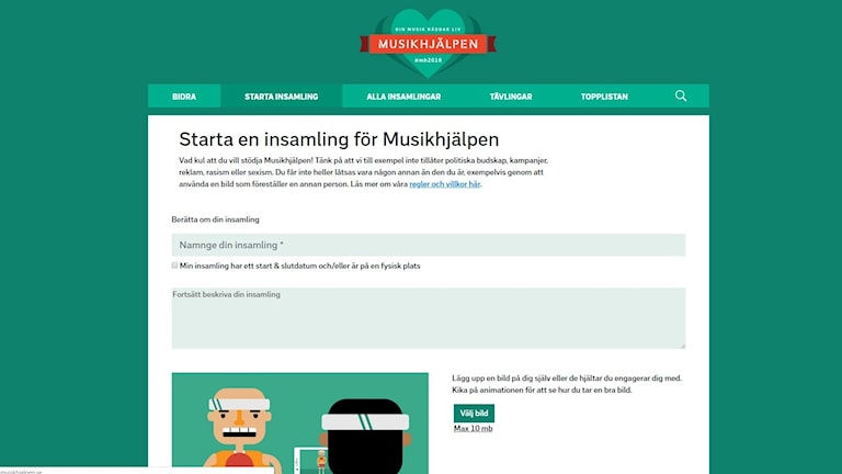 """Grafiken visar Musikhjälpens nya insamlingssida, som är grön och har rubriken """"Starta en insamling för Musikhjälpen""""."""