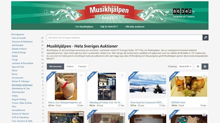 Screenshot av Musikhjälpens auktionssida den 7 december 2017