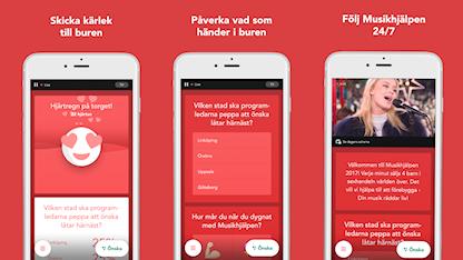 Exempel på vad du kan göra i appen: skicka kärlek, påverka och följa sändningen dygnet runt!
