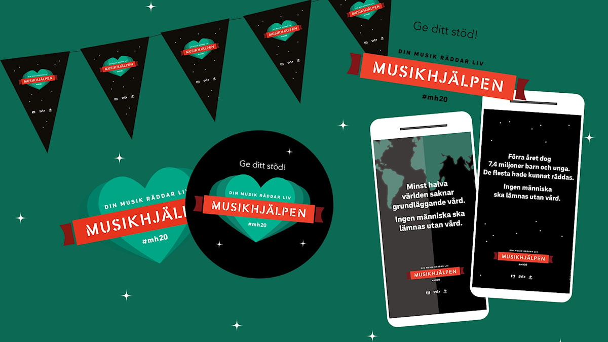 Ett bildkollage av Musikhjälpens olika logotyper och infografik som illustrerar årets tema.