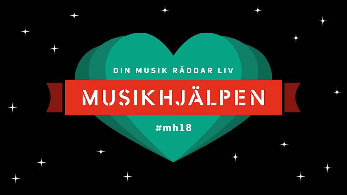 """Grafik föreställande Musikhjälpens logga med röd banner och et stort grönt hjärta på en svart bakgrund med vita stjärnor. I grafiken står det """"Musikhjälpen - Din musik räddar liv #mh18"""""""