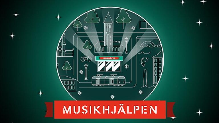 En grafisk bild som visar konturer av saker som finns i norrköping, tex en spårvagn. I mitten står en lysande glasbur.