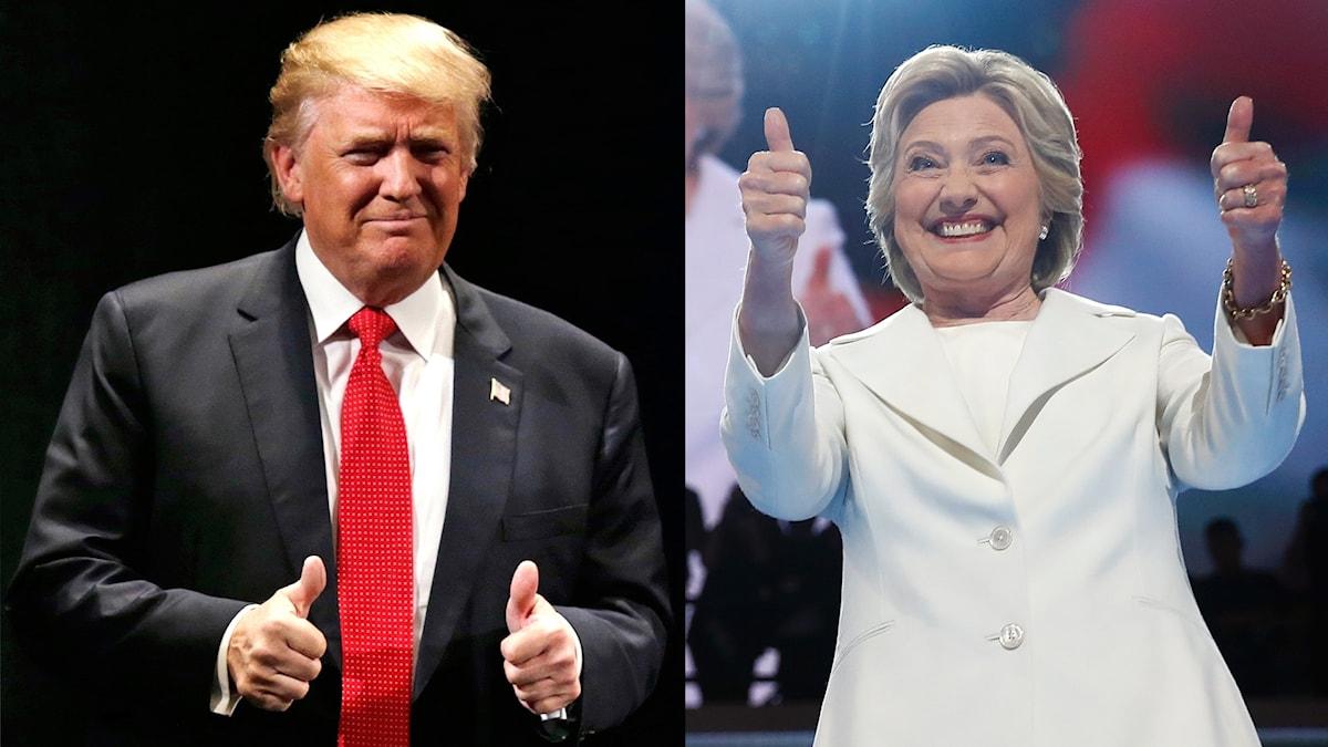 Donald Trump och Hillary Clinton håller upp båda sina tummar.